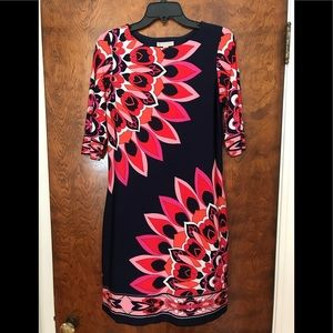 Dress Barn pink and navy floral dress